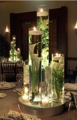 Tall cylinder centerpiece with floating candle - DIY - Long Island