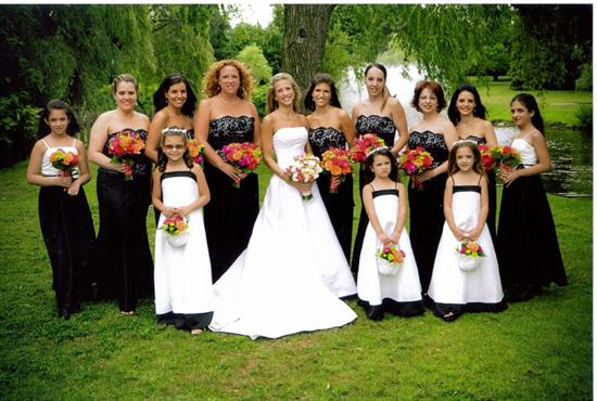 whole wedding was black and ivory with really bright flowers that would