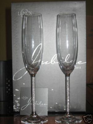 Crystal stem toasting flutes photo 2