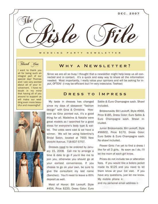 Brides helping brides help bridesmaids newsletter for Bridesmaid newsletter template