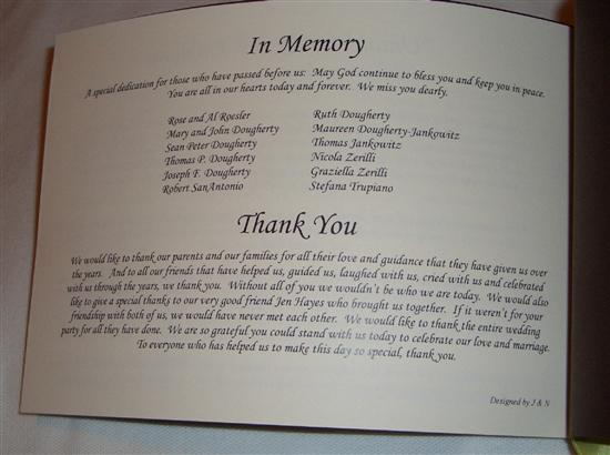Brides Helping Brides Thank You Note In Program Liweddings