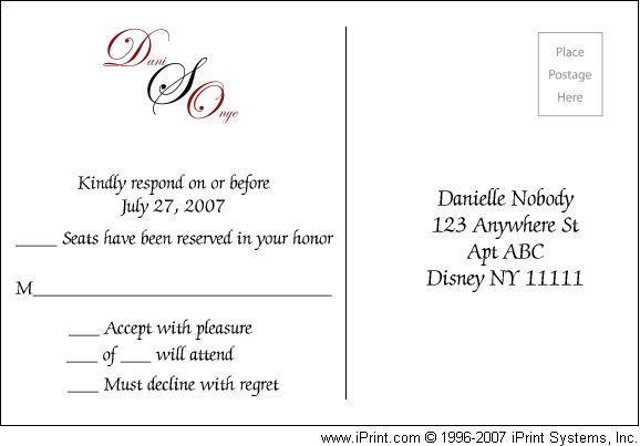 Brides Helping Brides ™ - Response card wording | LIWeddings
