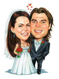 Brides Helping Brides Bride And Groom As A Caricature Liweddings