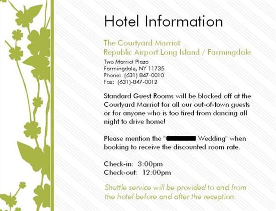 Re Hotel Block Cards