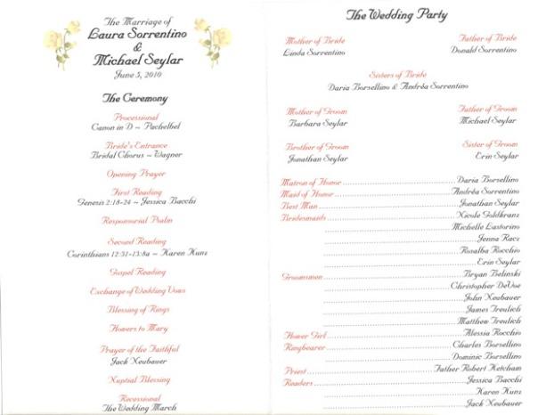 Catholic Mass Wedding Programs