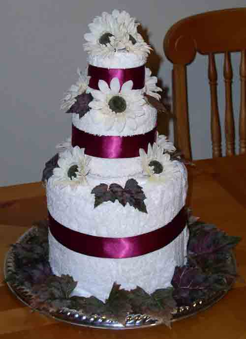 wedding cake made out of towels brides helping brides bridal shower towel cake 23110